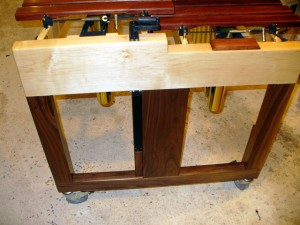 Low Endframe of the Xylophone showing Maple and Walnut frame.